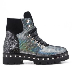 Glitter silver boot with lace