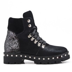 Glitter black boot with lace