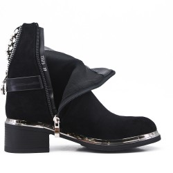 Black ankle boot in faux suede with rhinestone back