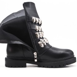 Black imitation leather ankle boot with notched sole