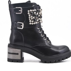 Black ankle boot in faux leather with rhinestones