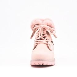 Bota infantil rosa con encaje y piel