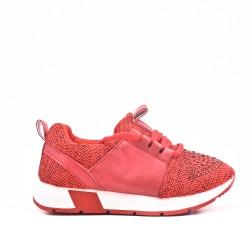 Basket fille rouge ornée de strass à lacet