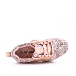 Basket fille rose ornée de strass à lacet