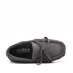 Child moccasin in gray suede faux suede