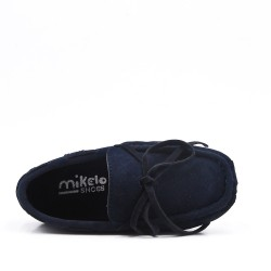 Child moccasin in blue suede faux suede