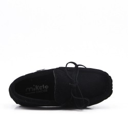 Child moccasin in black suede faux suede