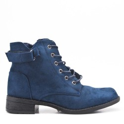 Blue ankle boot in faux suede with lace