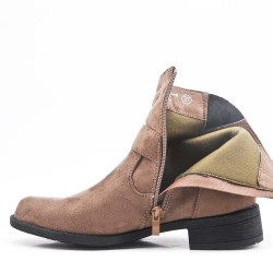 Khaki ankle boot with buckled bridle