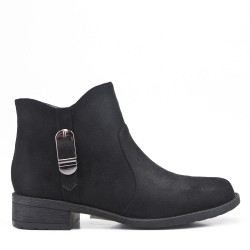 Black ankle boot in faux suede