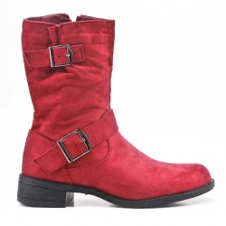 Red faux suede buckled buckle boot