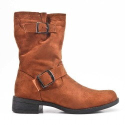 Camel faux suede buckled buckle boot