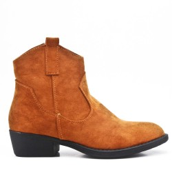 Camel ankle boot in faux suede