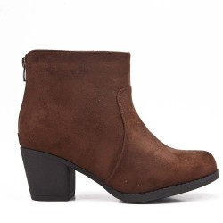 Coffee ankle boot in faux suede with heel