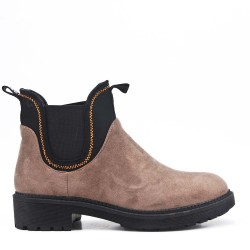 Khaki ankle boot in faux suede elastic yoke