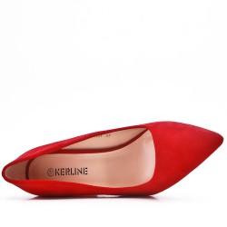 Zapatos de salón rojo en ante sintético con puntera puntiaguda