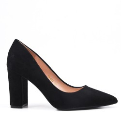 Zapatos de salón negros en ante sintético con puntera puntiaguda