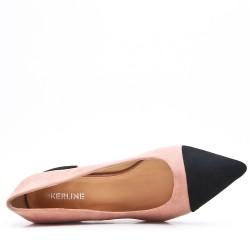 Zapatos de tacón de ante rosa con tacón