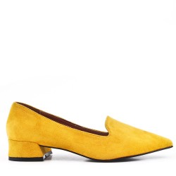 Yellow suede leather pumps with small heel