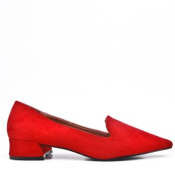 Red suede leather pumps with small heel