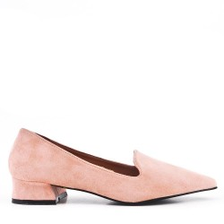 Pink suede leather pumps with small heel