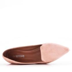 Zapatos de tacón de ante rosa con tacón pequeño