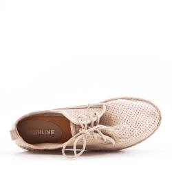 Beige espadrille in perforated faux suede