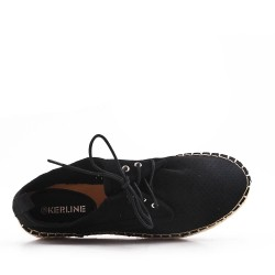 Black espadrille in perforated faux suede