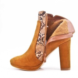 Camel ankle boot in faux suede with heel