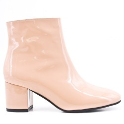 Pink patent leather ankle boot