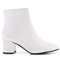 White patent leather ankle boot