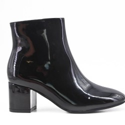 Black patent leather ankle boot