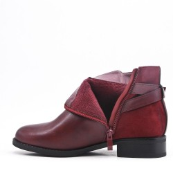 Red wine leather ankle boot with buckled bridle