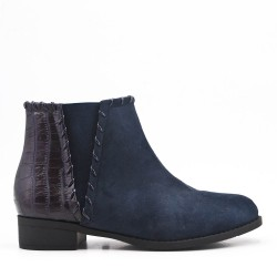 Navy ankle boot in faux suede elastic yoke