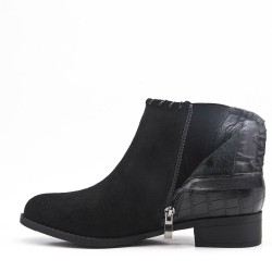 Black ankle boot in faux suede elastic yoke
