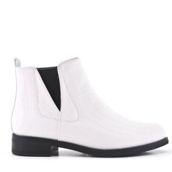 White imitation leather ankle boot with crocodile print
