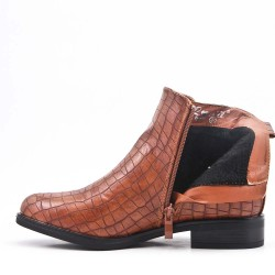 Camel imitation leather ankle boot with crocodile print