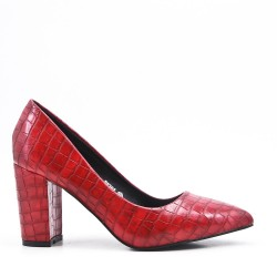 Croco print red pump with heel