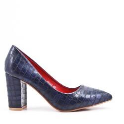 Zapato estampado croco azul con tacon
