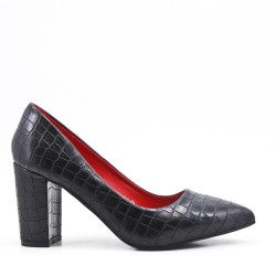 Croco print black pump with heel