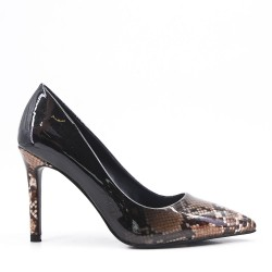 Snake-print patent pump with heel