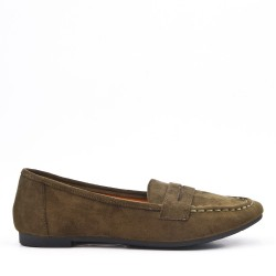 Moccasin in green suede leather