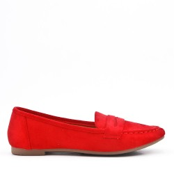Moccasin in red suede leather