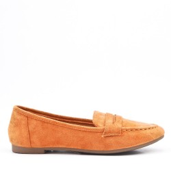 Moccasin in camel suede leather