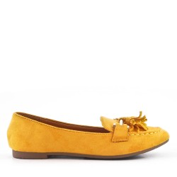 yellow comfort moccasin in faux suede with pompom