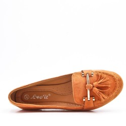 Camel comfort moccasin in faux suede with pompom