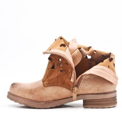 Camel imitation leather ankle boot with buckled straps