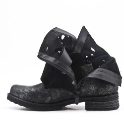 Black imitation leather ankle boot with buckled straps