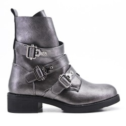 Gray imitation leather ankle boot with buckled straps