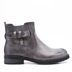 Bi-material gray ankle boot with elasticated upper